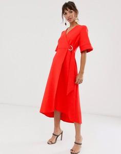 Красное платье-футляр с запахом и рукавами-кимоно Closet London-Красный
