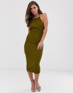 Платье миди в рубчик ASOS DESIGN-Зеленый