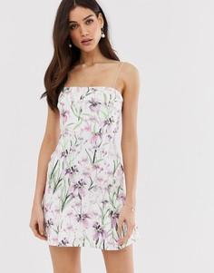 Платье мини с укороченным лифом и цветочным принтом ASOS DESIGN-Мульти