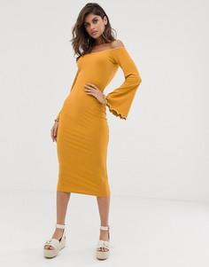 Облегающее платье миди в рубчик с открытыми плечами и контрастной отделкой ASOS DESIGN-Мульти