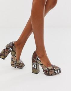 Коричневые туфли-лодочки на каблуке со змеиным рисунком ASOS DESIGN Prime-Мульти