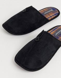 Черные слиперы с клетчатой подкладкой Dunlop-Черный