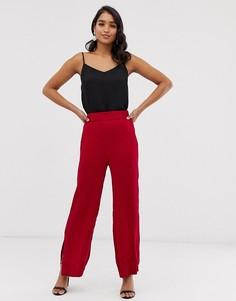 Брюки с широкими штанинами и разрезами Closet-Красный