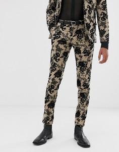 Бежевые супероблегающие брюки с флоковым цветочным рисунком Twisted Tailor-Светло-коричневый