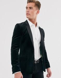 Черный супероблегающий пиджак-смокинг из плиссированного бархата ASOS DESIGN