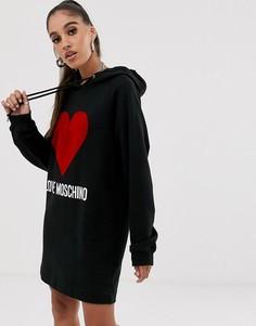 Платье с капюшоном и флоковым логотипом Love Moschino-Черный