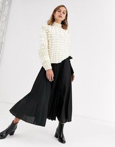 Плиссированная юбка макси с запахом и завязкой ASOS DESIGN-Синий