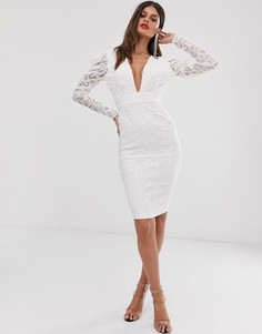 Кружевное платье-футляр миди кремового цвета с присборенной отделкой Vesper-Кремовый
