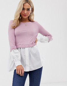 Многослойный топ-рубашка Love-Фиолетовый