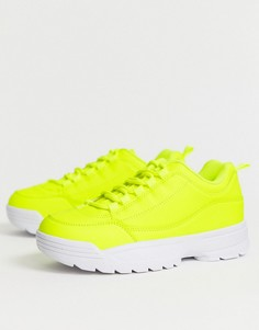 Неоновые кроссовки на массивной подошве Truffle Collection-Желтый