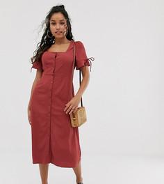 Платье миди на пуговицах с квадратным вырезом Vero Moda Petite-Розовый