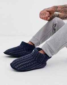 Темно-синие вязаные ботинки-слиперы Totes-Темно-синий