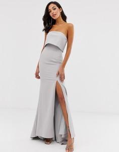 Серое платье макси бандо Jarlo-Серый