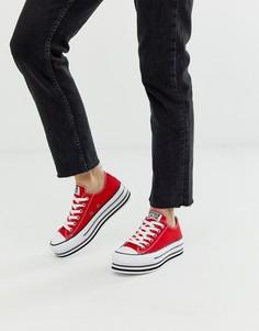 Красные кроссовки на платформе Converse chuck taylor all star-Красный