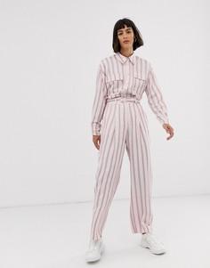 Розовые брюки в вертикальную полоску ASOS WHITE-Розовый