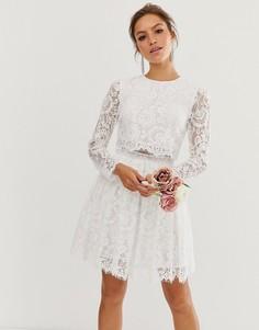 Кружевное свадебное платье мини ASOS EDITION-Белый