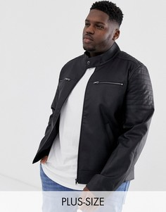 Куртка из искусственной кожи со стеганой отделкой ASOS DESIGN Plus-Черный
