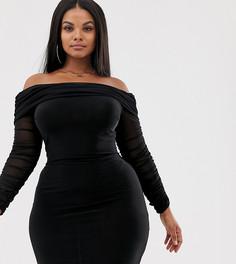 Черное платье мини с открытыми плечами и сборками Club L London Plus-Черный