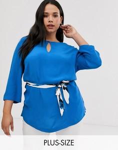 Блузка с рукавами 3/4 и принтом на поясе i.Scenery-Синий