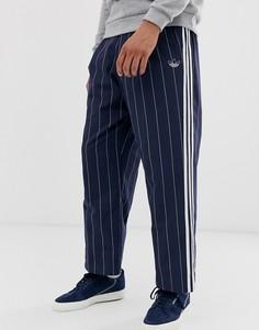 Темно-синие широкие джоггеры в тонкую полоску adidas Originals-Темно-синий
