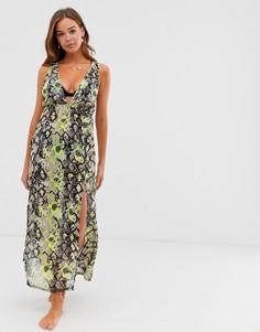 Неоновое пляжное платье макси со змеиным принтом Influence-Мульти