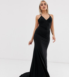 Черное платье макси с юбкой-годе и перекрестными бретельками на спине Club L London Petite-Черный