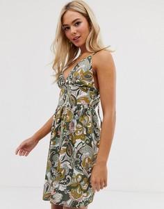 Платье мини с цветочным принтом Love-Зеленый