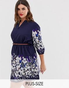 Платье с цветочным принтом, поясом и рукавами 3/4 Yumi Plus-Темно-синий