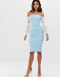 Платье миди с открытыми плечами и контрастными рукавами Vesper-Синий