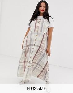 Платье мидакси в клетку на пуговицах Neon Rose Plus-Бежевый