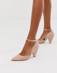 Бежевыеостроносые туфли на среднем каблуке ASOS DESIGN - Speak Out-Бежевый