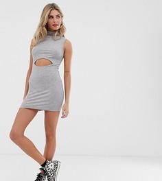 Платье мини с высоким воротом и вырезом Another Reason-Серый