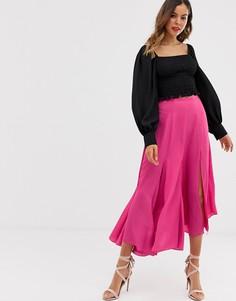 Струящаяся асимметричная юбка миди со вставкой-годе ASOS DESIGN-Розовый