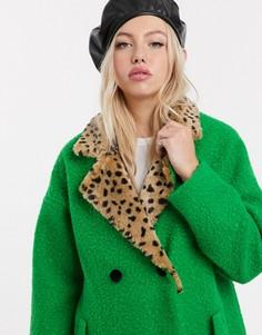 Двубортное шерстяное пальто с воротником из искусственного меха с леопардовым принтом Lazy Oaf-Зеленый
