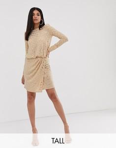 Платье мини с запахом спереди, подплечниками и отделкой золотистыми пайетками Flounce London Tall-Черный