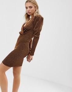 Платье с длинными рукавами Moves By Minimum-Коричневый
