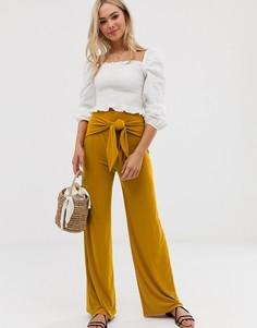 Широкие брюки с завязкой Love-Желтый