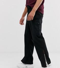 Черные брюки карго с разрезами по бокам Reclaimed Vintage-Черный