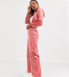 Велюровые джоггеры с широкими штанинами и карманами карго Fila-Красный