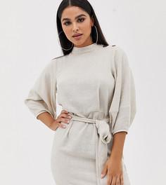Платье мини с поясом из ткани с добавлением льна ASOS DESIGN Petite-Кремовый