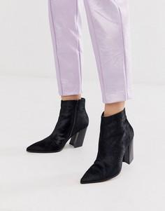 Черные кожаные ботинки на каблуке и с острым носком ASOS DESIGN Elude-Черный