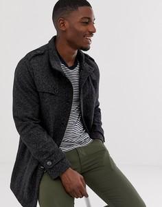 Шерстяное пальто с воротником-стойкой Selected Homme-Серый