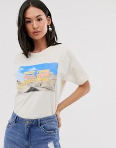 Свободная футболка с принтом Daisy Street good time-Белый