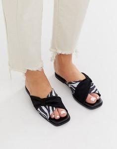 Черные сандалии с кожаным бантиком ASOS WHITE - Wallflower-Мульти