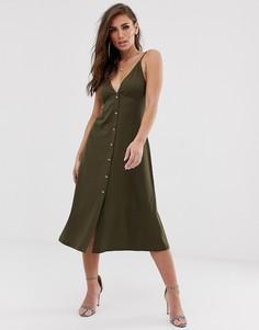 Свободное платье миди на пуговицах ASOS DESIGN-Зеленый