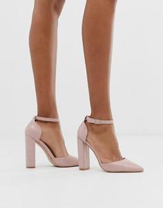 Розовые туфли на блочном каблуке с рисунком крокодиловой кожи Public Desire - Sofia-Бежевый