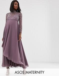 Платье миди с запахом и декорированным лифом ASOS DESIGN Maternity-Мульти