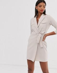 Платье-смокинг мини в стиле милитари ASOS DESIGN-Серый