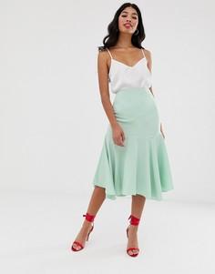 Атласная юбка миди со швами ASOS DESIGN-Зеленый