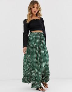 Ярусная юбка миди Maison Scotch-Зеленый